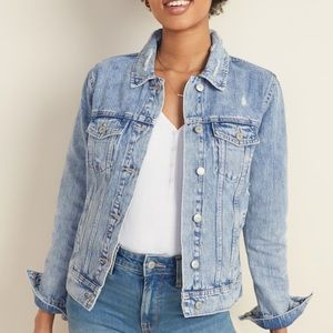 Old Navy Distressed Light Wash Jean Jacket Womens